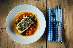 Herb crusted Cod, tomato & chickpea