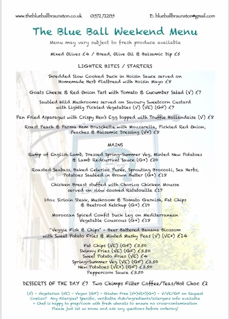Weekend Dining Menu - The Blue Ball May 2021