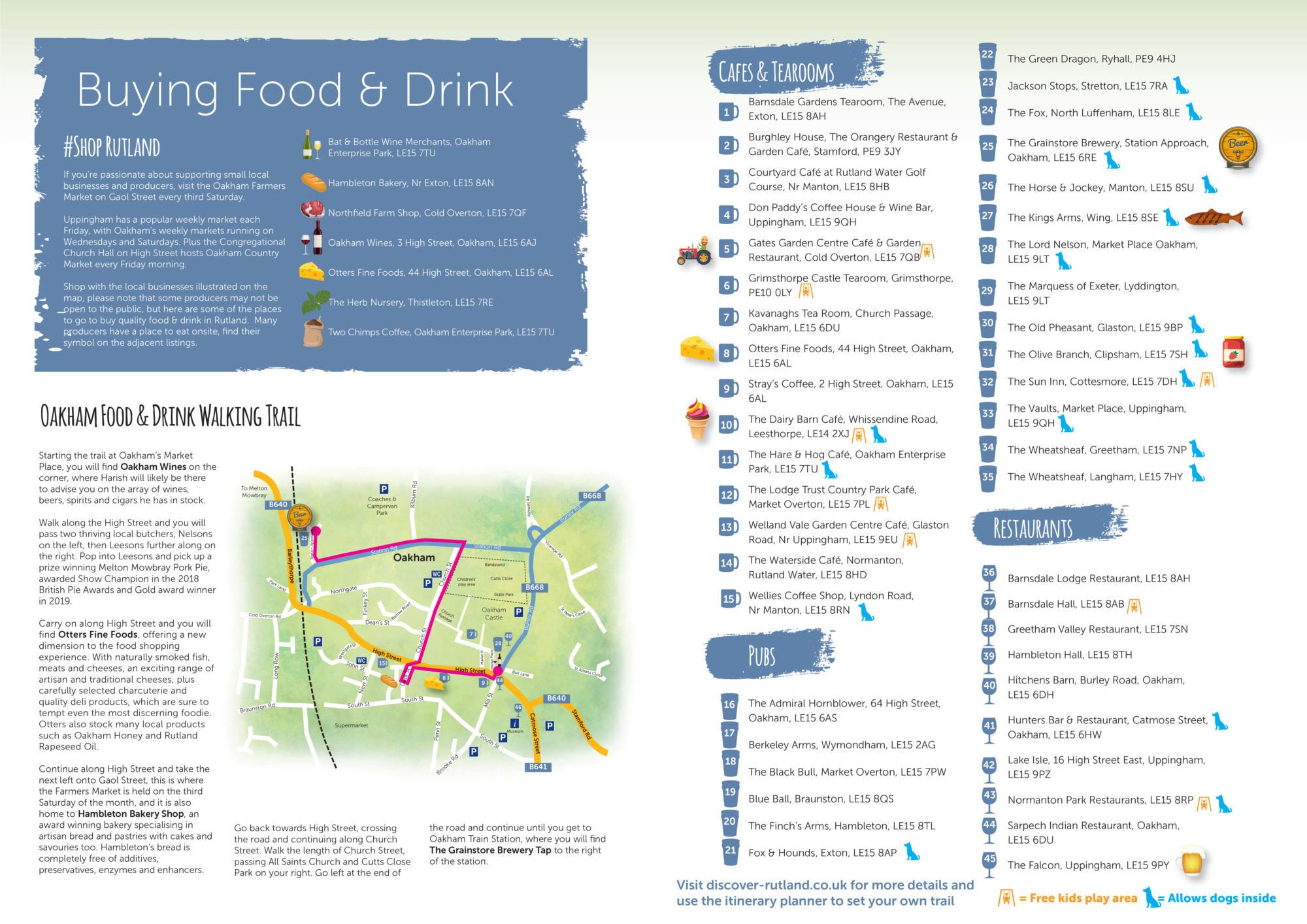 Rutland food and drink trail listing