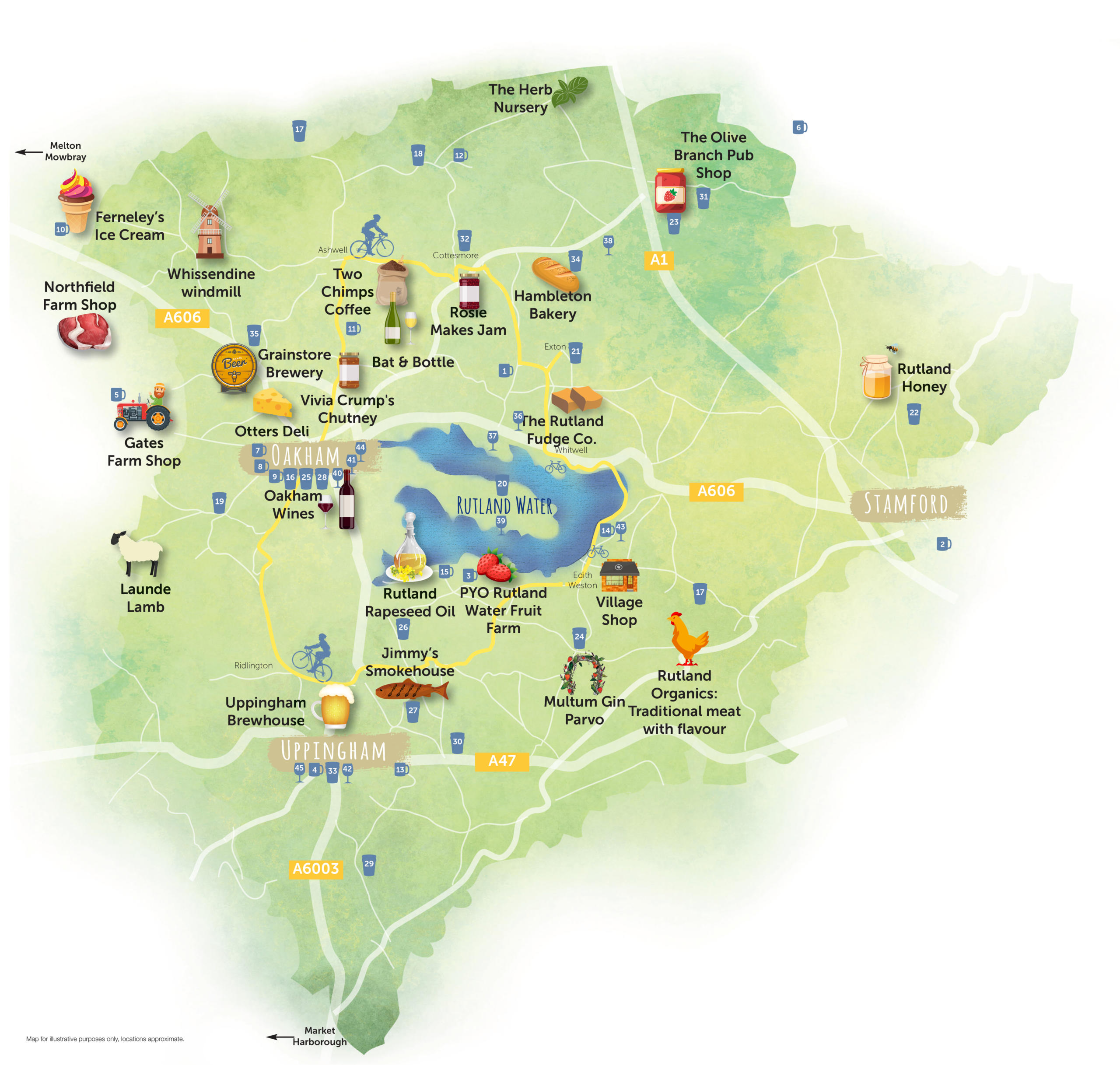 Rutland food and Drink map